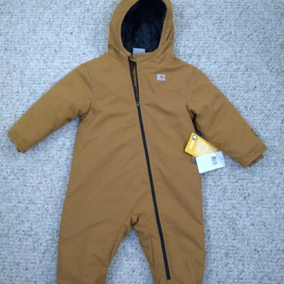fe2c0abb9 Carhartt One Pieces | New Baby Boy Quick Duck Snowsuit Brown | Poshmark